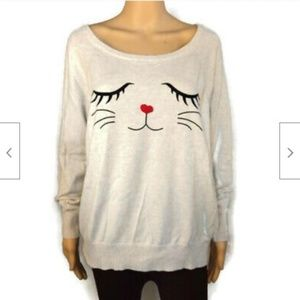Torrid ivory kitty cat face sweater crew neck
